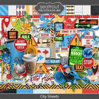 City Streets Digital Art - Digital Scrapbooking Kits