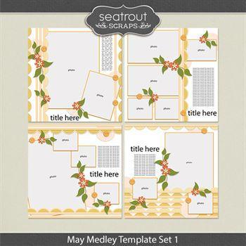 May Medley Template Set 1 Digital Art - Digital Scrapbooking Kits