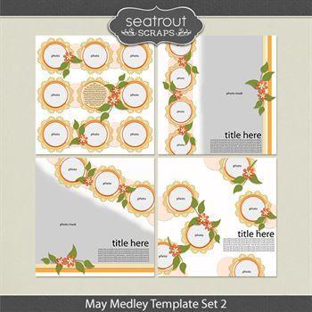 May Medley Template Set 2 Digital Art - Digital Scrapbooking Kits