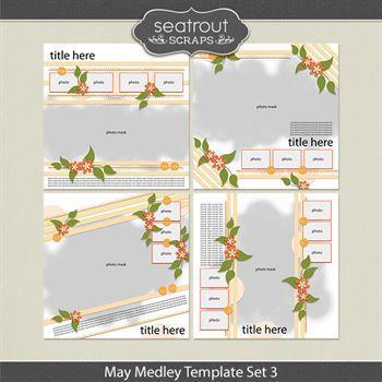 May Medley Template Set 3 Digital Art - Digital Scrapbooking Kits
