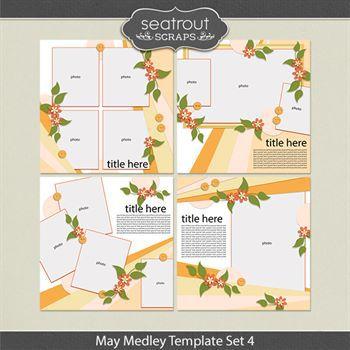 May Medley Template Set 4 Digital Art - Digital Scrapbooking Kits
