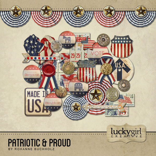 Patriotic And Proud Digital Art - Digital Scrapbooking Kits