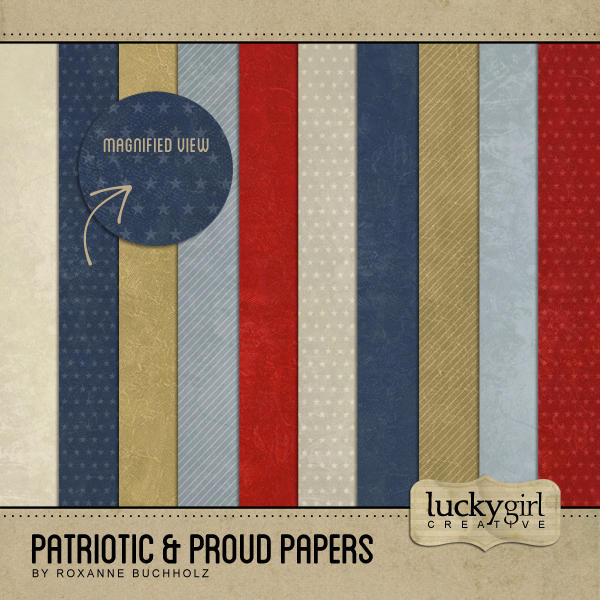 Patriotic And Proud Papers Digital Art - Digital Scrapbooking Kits