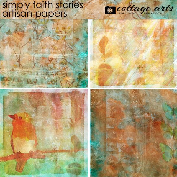 Simply Faith Stories Artisan Papers Digital Art - Digital Scrapbooking Kits