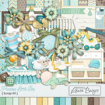 Precious Little One Boy Kit Digital Art - Digital Scrapbooking Kits