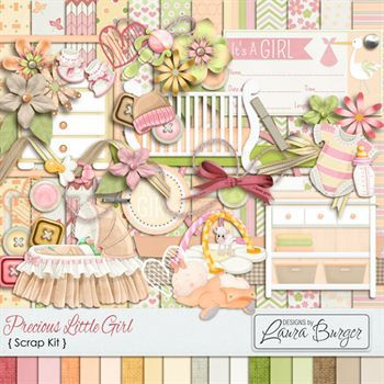 Precious Little One Girl Kit Digital Art - Digital Scrapbooking Kits