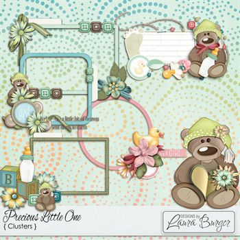 Precious Little Ones Clusters Digital Art - Digital Scrapbooking Kits