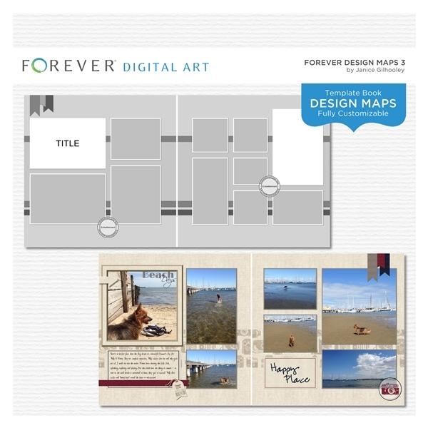 Forever Design Maps 3 Digital Art - Digital Scrapbooking Kits