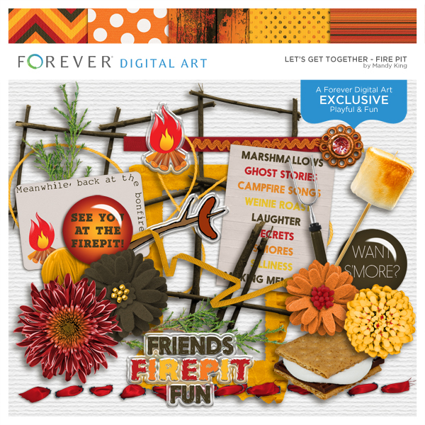 Let's Get Together Firepit Digital Art - Digital Scrapbooking Kits