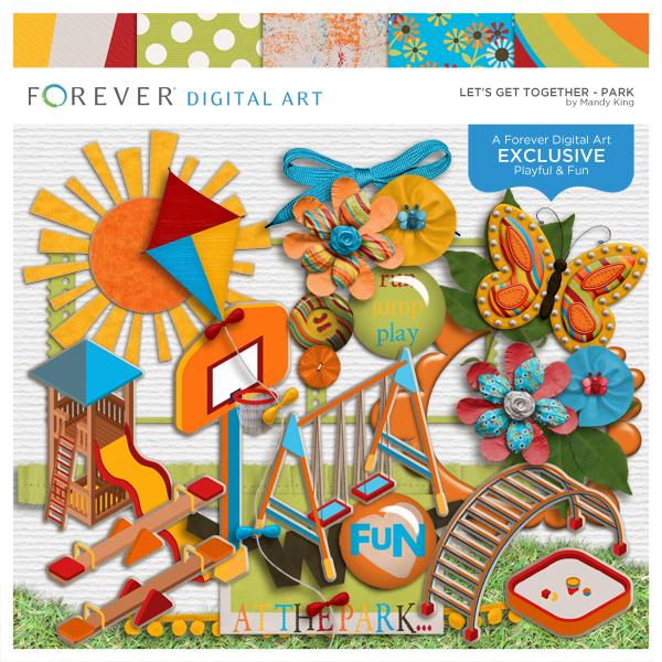 Let's Get Together Park Digital Art - Digital Scrapbooking Kits