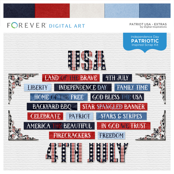 Patriot USA Extras Digital Art - Digital Scrapbooking Kits