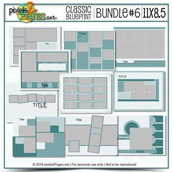 11x8.5 Classic Blueprint Bundle #6 Digital Art - Digital Scrapbooking Kits
