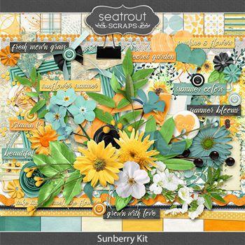 Sunberry Kit Digital Art - Digital Scrapbooking Kits