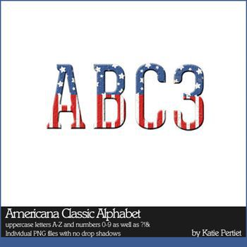 Americana Classic Alphabet Digital Art - Digital Scrapbooking Kits