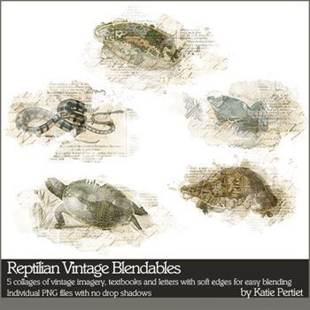 Reptilian Vintage Blendables Digital Art - Digital Scrapbooking Kits