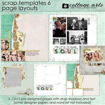 12 X 12 Scrap Templates 6 - Page Layouts Digital Art - Digital Scrapbooking Kits