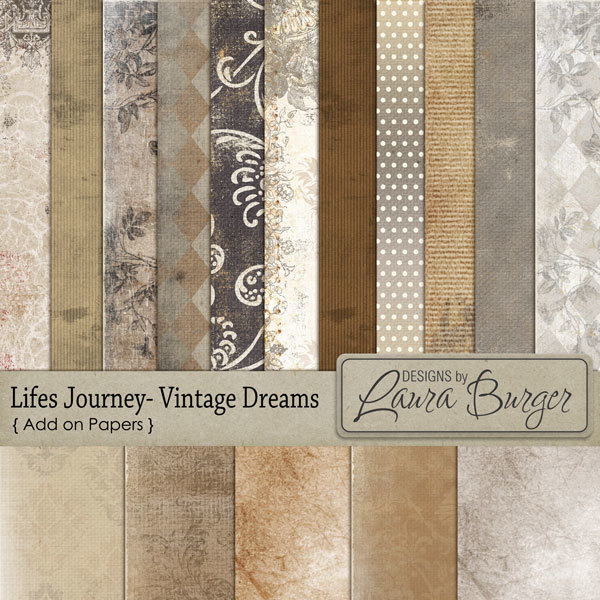 Lifes Journey Vintage Dreams Add On Papers Digital Art - Digital Scrapbooking Kits
