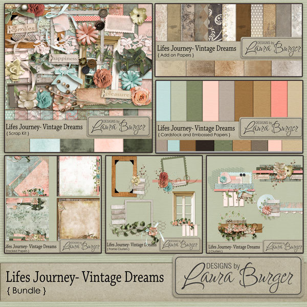 Lifes Journey Vintage Dreams Bundle Digital Art - Digital Scrapbooking Kits