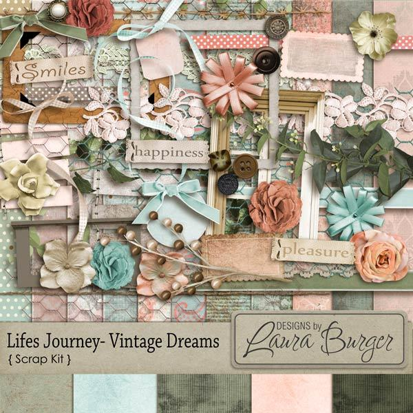 Lifes Journey Vintage Dreams Scrap Kit Digital Art - Digital Scrapbooking Kits