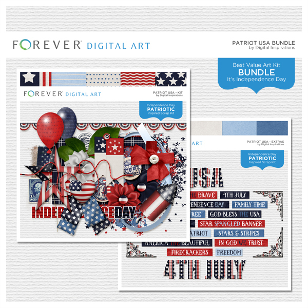 Patriot USA Bundle Digital Art - Digital Scrapbooking Kits