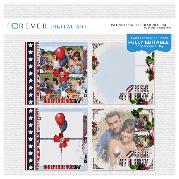 Patriot USA Predesigned Pages Digital Art - Digital Scrapbooking Kits