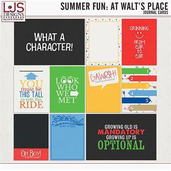 Summer Fun - At Walt's Place - Journal Cards Digital Art - Digital Scrapbooking Kits