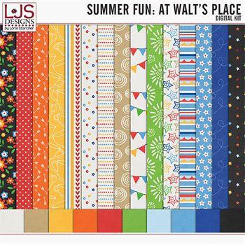 Summer Fun - At Walt's Place - Papers Digital Art - Digital Scrapbooking Kits