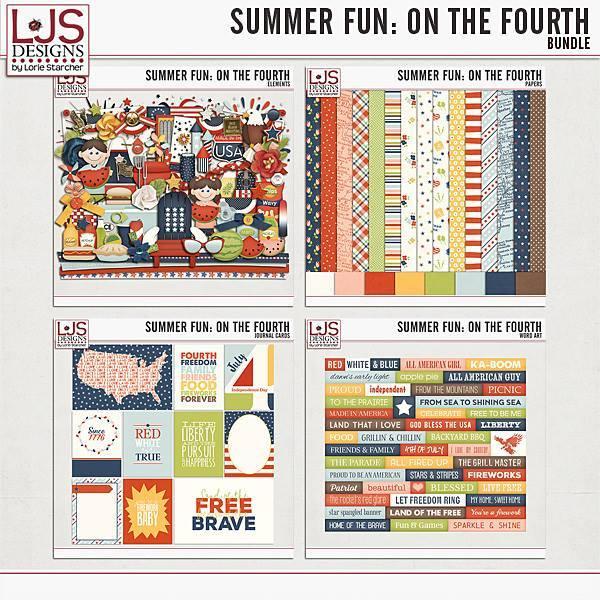Summer Fun - On The Fourth - Bundle Digital Art - Digital Scrapbooking Kits