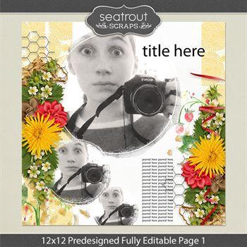 12 X 12 Predesigned Editable Page 1 Digital Art - Digital Scrapbooking Kits