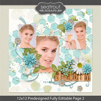 12 X 12 Predesigned Editable Page 2 Digital Art - Digital Scrapbooking Kits