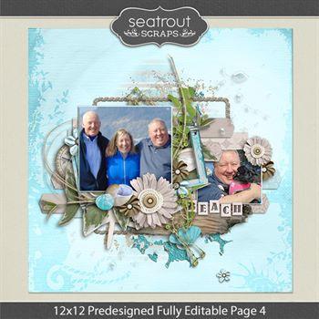 12 X 12 Predesigned Editable Page 4 Digital Art - Digital Scrapbooking Kits