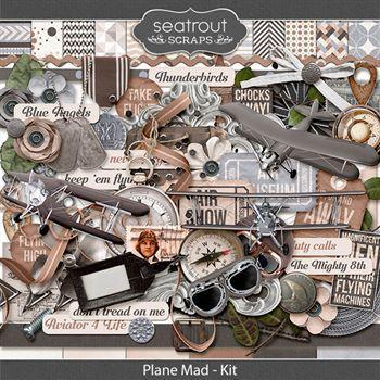 Plane Mad Digital Art - Digital Scrapbooking Kits