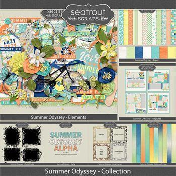 Summer Odyssey Bundled Collection Digital Art - Digital Scrapbooking Kits