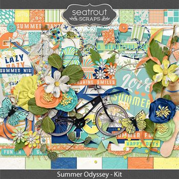 Summer Odyssey Kit Digital Art - Digital Scrapbooking Kits