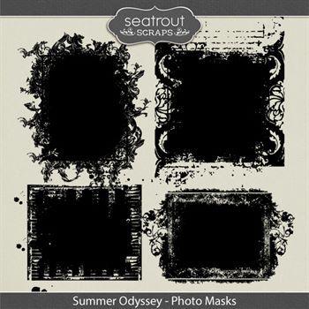 Summer Odyssey Photo Masks Digital Art - Digital Scrapbooking Kits