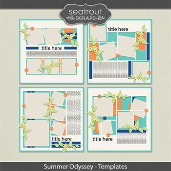 Summer Odyssey Templates Digital Art - Digital Scrapbooking Kits
