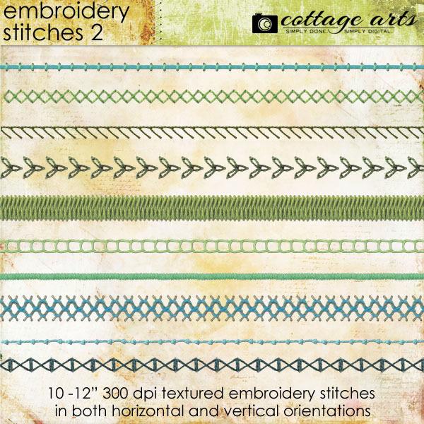 Embroidery Stitches 2 Digital Art - Digital Scrapbooking Kits