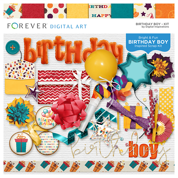 Birthday Boy Kit Digital Art - Digital Scrapbooking Kits