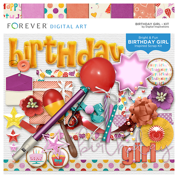 Birthday Girl Kit Digital Art - Digital Scrapbooking Kits