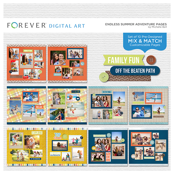 Endless Summer Adventure Pages Digital Art - Digital Scrapbooking Kits