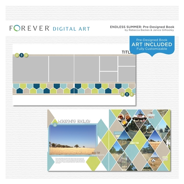 Endless Summer Pre-designed Book Digital Art - Digital Scrapbooking Kits