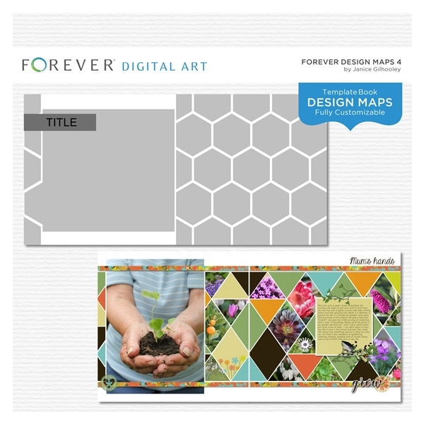 Forever Design Maps 4 Digital Art - Digital Scrapbooking Kits