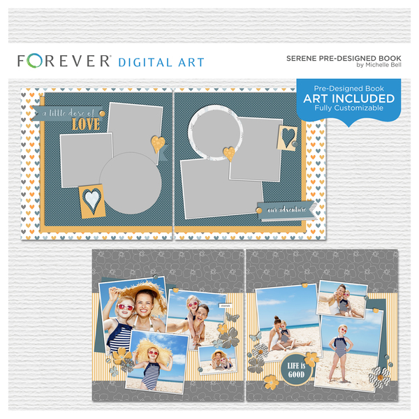 Serene Pre-designed Book Digital Art - Digital Scrapbooking Kits