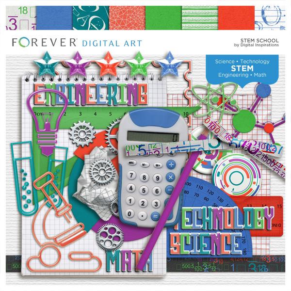 Stem School Kit Digital Art - Digital Scrapbooking Kits