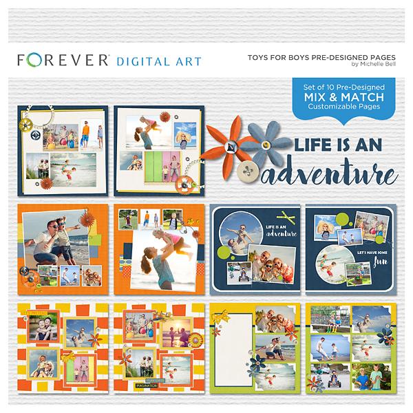 Toys For Boys Pre-designed Pages Digital Art - Digital Scrapbooking Kits
