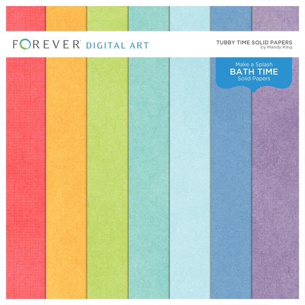 Tubby Time Solid Papers Digital Art - Digital Scrapbooking Kits