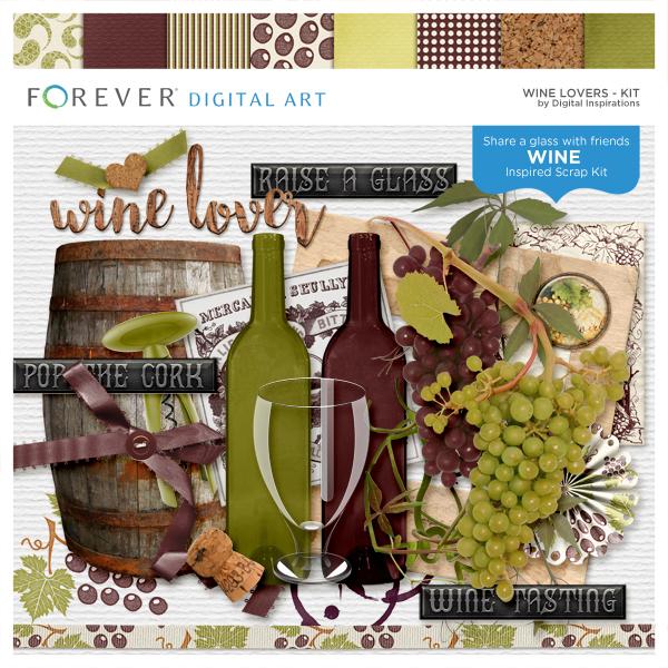 Wine Lovers Digital Art - Digital Scrapbooking Kits