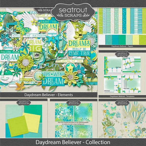 Daydream Believer Bundled Collection Digital Art - Digital Scrapbooking Kits