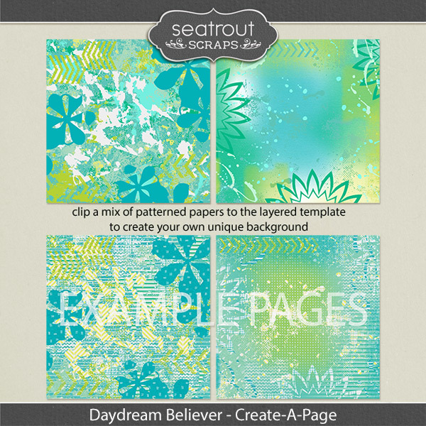 Daydream Believer Create-a-page Templates Digital Art - Digital Scrapbooking Kits