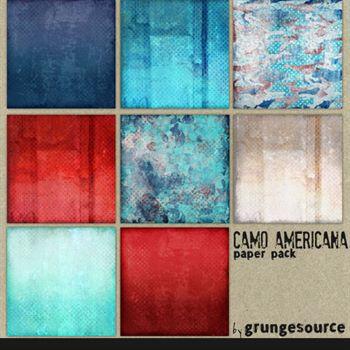 Camo Americana Paper Pack Digital Art - Digital Scrapbooking Kits